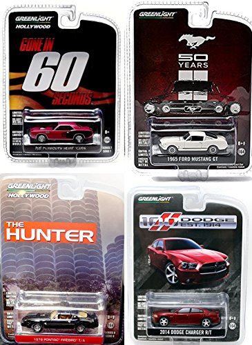 1965 Ford Mustang / 2014 Dodge Charger R/T / 1971 Plymouth Hemi Cude Gone in 60 Seconds / The Hunter 1979 Black T-Tops - Pontiac Greenlight Hollywood Trans Am set in PROTECTIVE CASES