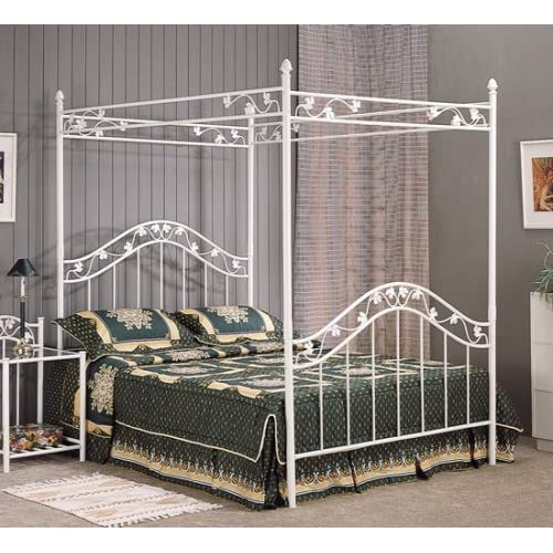Full Size White Floral Metal Canopy Bed