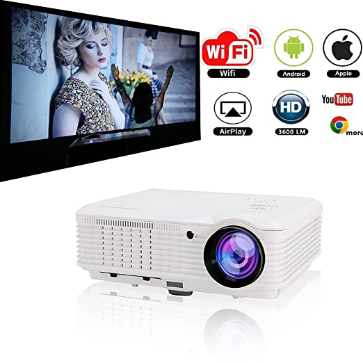 caiwei LCD LED proiettore wireless HDMI USB Full HD 1080P supporto Android WiFi Airplay Miracast, 4500 lumen proiettore home cinema per gioco Video Film, collegati iPhone Laptop Macbook Xbox DVD