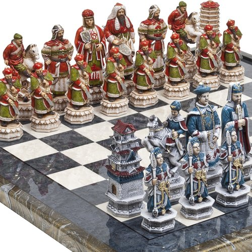 "Great Wall of China Luxury Chessmen & Mancini Chess Board from Italy Giant Size: King 5 3/4"" at Amazon.com"
