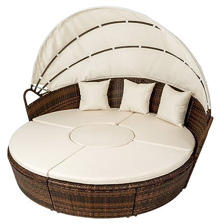 TecTake Conjunto de sillones con un techo isla para tomar el sol de ALUMINIO y ratán sintético marrón