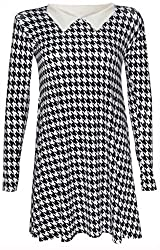 Ladies Long Sleeve Printed Peter pan Collar Swing Skater Flared Dress Top Shirt