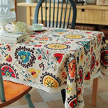 Superwinger Vintage Lace Sun Flower Tablecloth,Linen Embroidered Rectangle Washable Dinner Picnic Table Cloth,Assorted Size.