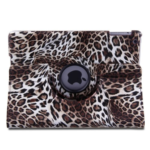 Topchances Ipad Air Ipad 5 Lightweight Classical Pu Leather Leopard Case With Auto Sleep/Wake Feature And 360 Degree Rotating Stand-Brown