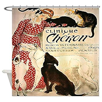 CafePress - Vintage French Cat Dog - Decorative Fabric Shower Curtain