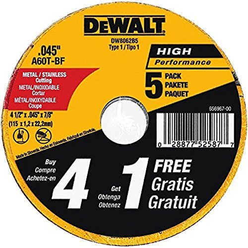DEWALT DW8062B5 4-1/2-Inch by 0.045-Inch Metal and Stainless Cutting Wheel, 7/8-Inch Arbor, 5-Pack (Metal Cut Off Wheel compare prices)