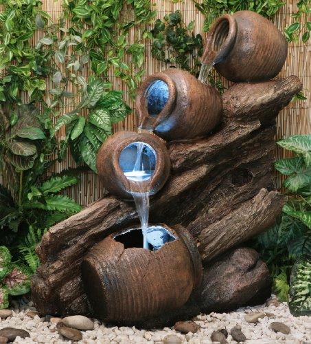 Fontaine Cascade 4 Jarres d'Huiles avec Lumieres
