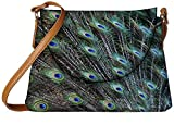 Snoogg peacock feathers picture Womens Carry Around Sling Bags