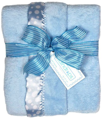 Raindrops Flurr Receiving Blanket, Blue with White Dots - 1