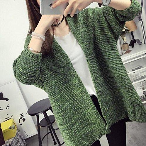 ZX Ladies XL più fertilizzante/lungo maglione giacca/maglia maniche , 4xl , army green