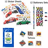 Race Car Party Favor Pack for 12 (12 Make-a-race Car Sticker Sheets, 12 Race Car Pencil Stationary Sets, & 36 Racing Tattoos)
