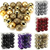 Generic Purple : Sale New Arrivals 24 Pcs/Set Glitter Chic Christmas Baubles Ornament Ball Party Home Garden Decor