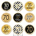 70th Birthday Party Decorations - Gold & Black - Stickers for Hershey Kisses (Set of 324)