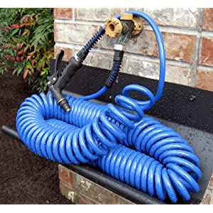 Refurbished Blue 75 Ft. Drinking Water Safe Polyurethane Coiled Watering Hose - Save $20