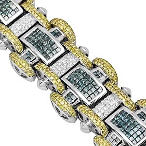 14K White Gold Mens Diamond Bracelet with Yellow and Blue Diamonds 19.90 Ctw