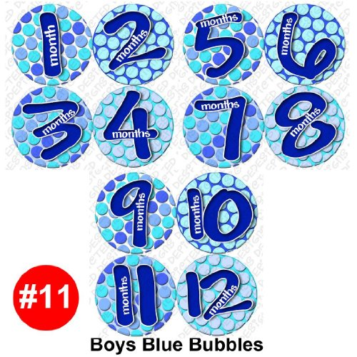 BLUE BUBBLE Baby Month Onesie Stickers Baby Shower Gift Photo Shower Stickers, baby shower gift by OnesieStickers