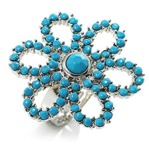 Turquoise Coloured Acrylic Daisy Cocktail Ring
