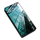 Wireless Portable Charger, 20000mAh high-Capacity high-Speed Wireless Power Bank, with Flashlight, Tempered Glass Panel with LED Display, Suitable for iPhone or Android Phones (Color: BLACK)