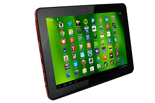 """Hannspree HannsPad HD T74R Tablette tactile 10,1"""" (25,65 cm) (16 Go, Androïd KitKat 4.4, Wi-Fi, Rouge)"""