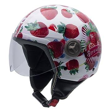 NZI 490004G606 3D Vintage II Candy Fruit Casque de Moto, Fond Blanc/Photos de Fraises, Taille : XS