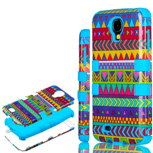 "myLife (TM) Electric Sky Blue - Colorful Tribal Print Design (3 Piece Hybrid) Hard and Soft Case for the Samsung Galaxy S4 ""Fits Models: I9500, I9505, SPH-L720, Galaxy S IV, SGH-I337, SCH-I545, SGH-M919, SCH-R970 and Galaxy S4 LTE-A Touch Phone"" (Fitted Front and Back Solid Cover Case + Internal Silicone Gel Rubberized Tough Armor Skin + Lifetime Warranty + Sealed Inside myLife Authorize at Amazon.com"