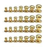 28PACK 4MM 5MM 6MM 7MM 8MM 9MM 10MM Combination Sam Browne Solid Brass Round Button Studs,Leather Craft Belt Chicago Screws Solid Brass Studs Nail Rivets DIY for Belt Wallet Handbag (Tamaño: 4MM,5MM,6MM,7MM,8MM.9MM.10MM Combination)