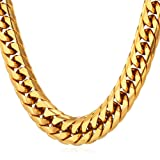 U7 28 Inch Long Necklace Hip Hop Chunky Cuban Curb Chain Men Stainless Steel 18K Gold Plated Necklace (Color: gold, Tamaño: large)