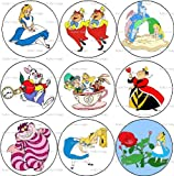 Set of 9 ALICE IN WONDERLAND Pinback Buttons 1.25