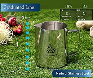 Milk Frothing Pitcher, Fly Skyline Stainless Steel Milk&coffee frothing pitcher 20 oz/14 oz Measurements Inside the Pitcher by Skyline