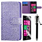 MINITURTLE, Sparkly Bling Rhinestone Studded PU Leather Flip Book Fashion Wallet Phone Case Cover for Prepaid Windows 8 Smartphone Nokia Lumia 521 /T Mobile /MetroPCS (Purple)