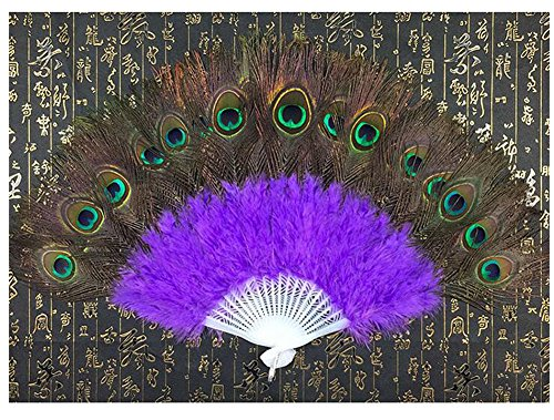 WCHUANG Belly Dance Accessories Hand Foldable Peacock Feather Fan with Plastic Staves (purple)