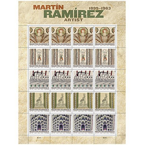 Martin Ramirez Sheet of 20 x Forever U.S. Postage Stamps USPS (Details Us March 2015 compare prices)