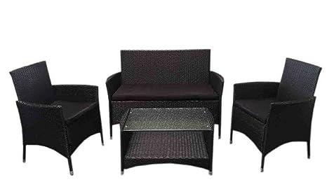 LD Juego de muebles de jardín ratán polietileno Asiento Grupo Muebles 7piezas Negro