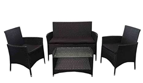 SSITG PE Rattan Furniture 7Piece Black Rattan Garden Furniture Lounge Set