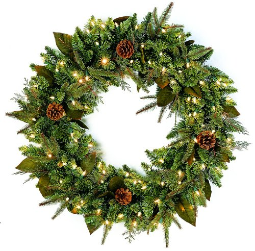 GKI Bethlehem Lighting Pre-Lit 30-Inch PE/PVC Christmas Christmas Wreath with 100 Clear Mini  , Green River Spruce