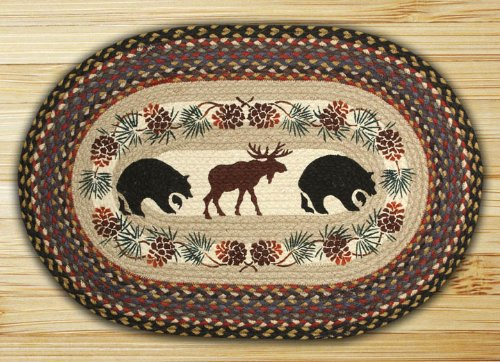 Earth Rugs OP-Bear/Moose Design Braided Rug, 20 x 30