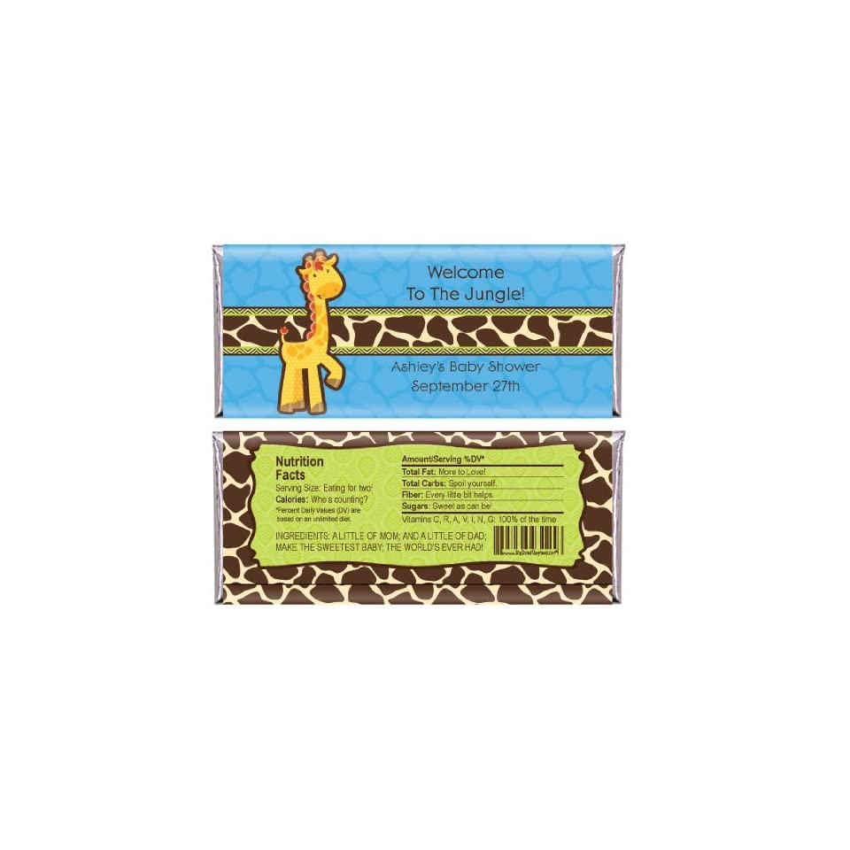 Giraffe Boy   Personalized Baby Shower Candy Bar Wrapper Favors