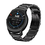 Shangpule Replacement Bands for Ticwatch 2 smartphone, Stainless Steel Metal Bracelet Strap for Ticwatch 2 Smart Watch (metal black) (Color: Metal Black)
