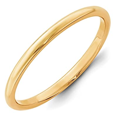 14ct Gold 2mm Half-Round Wedding Band Ring - Size K 1/2