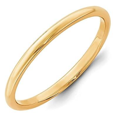 14ct Gold 2mm Half-Round Wedding Band Ring - Size K 1/2