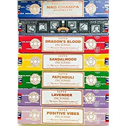 Satya Incense Gift Set Nag Champa, Super hit, Dragon's Blood, Sandalwood, Patchouli, Lavender, Positive Vibes, 15 g