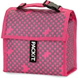 PackIt Checker Pink Freezable Mini Cooler