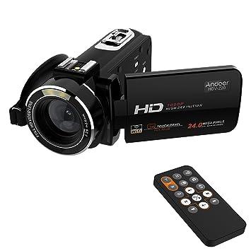 """Andoer HDV-Z20 Portable 1080p Full HD Digital caméra vidéo Max 24 Méga Pixels 16 × Zoom numérique caméscope 3.0"""" rotatif LCD tactile avec télécommande Support WiFi connexion Unique Griffe"""