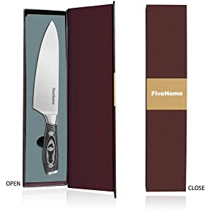 Top Grade 8 Inch Chef Knife, FiveHome Japanese High Carbon Stainless Steel Kitchen Sharp Knife with Ergonomic Wood Handle and Gift Box