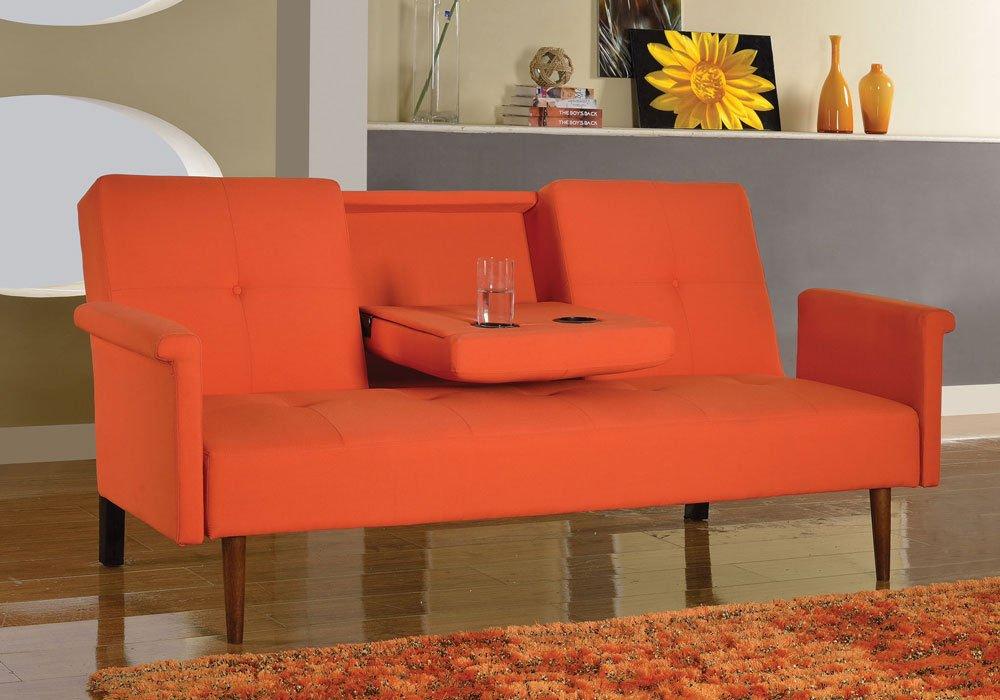 1PerfectChoice Randie Adjustable Sofa Bed Sleeper Futon Pull Down Cup Holder Linen in Orange
