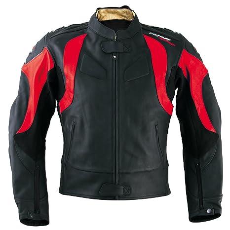 Roleff Racewear 82652 Blouson Moto Cuir Verona, Noir/Rouge, 52