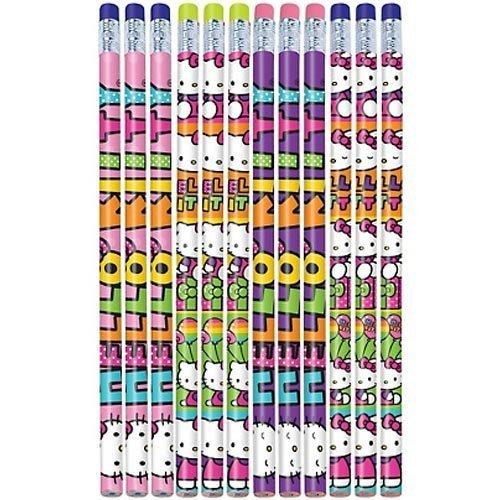"Amscan Hello Kitty Rainbow Pencil (12 Piece), Multi, 7"""