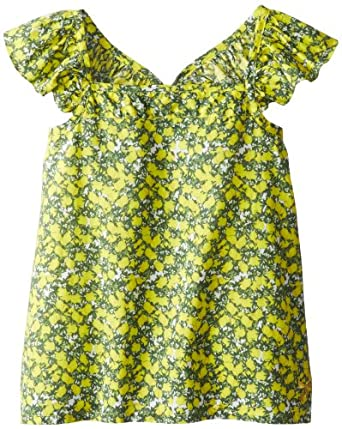 Rosie Pope Baby-Girls Infant Ruffle Dress with Bow, Lemon Blossom, 9 Months