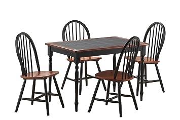 Boraam 80530 Tile Top 5-Piece Dining Set, Black/Cherry