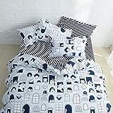 silipa  布団 カバー ダブル 4点 セット 掛け布団カバー  フラットシーツ  枕カバー  綿100% 洋式 クマ